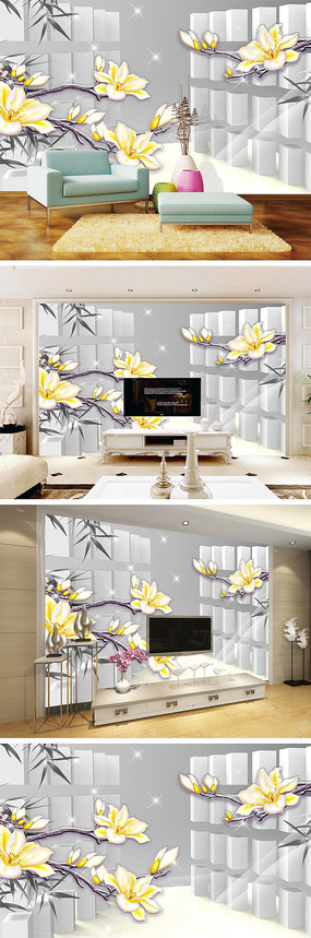 3D立体彩雕玉兰花背景墙