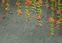 3D立体砖墙百合花朵背景墙
