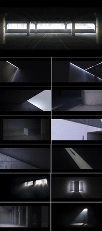 光影流动建筑物三视频动画