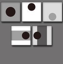 简洁大方5联黑白装饰画