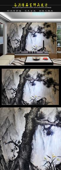 月光下的松树幽兰电视背景墙