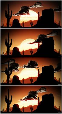 卡通儿童动画沙漠日出视频素材