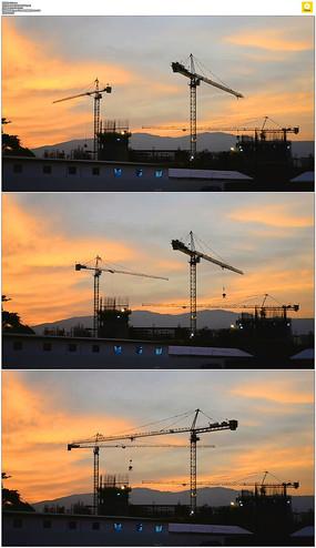 工地黄昏起重机实拍视频素材