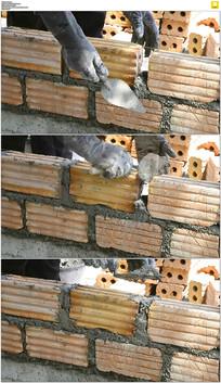 工地修房子砌砖实拍视频素材
