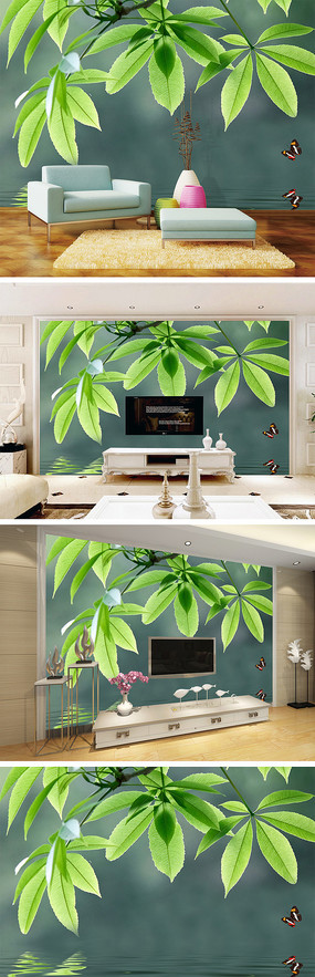 绿色清新树叶倒影背景墙
