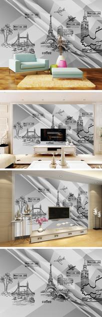 3D立体手绘景点背景墙