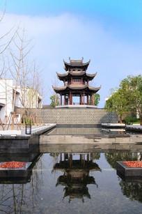 中式三层八角亭构筑景观