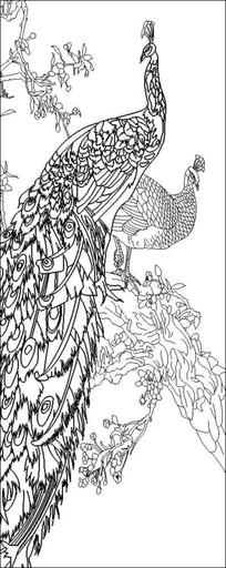 孔雀雕刻图案