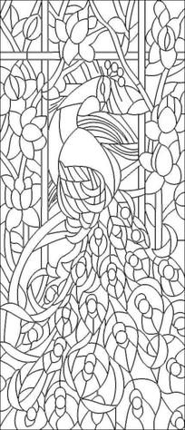 孔雀玉兰雕刻图案
