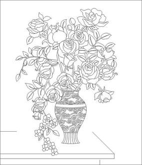 花瓶玫瑰雕刻图案