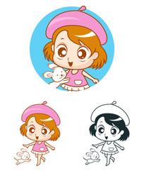 女孩和小狗玩耍卡通插画
