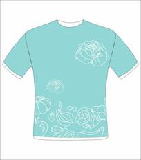 淡兰花纹服装印花图案