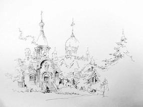 教堂建筑手绘 JPG