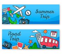 手绘时尚旅游系列banner