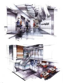 办公区设计手绘效果图