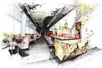 餐厅室内手绘效果图