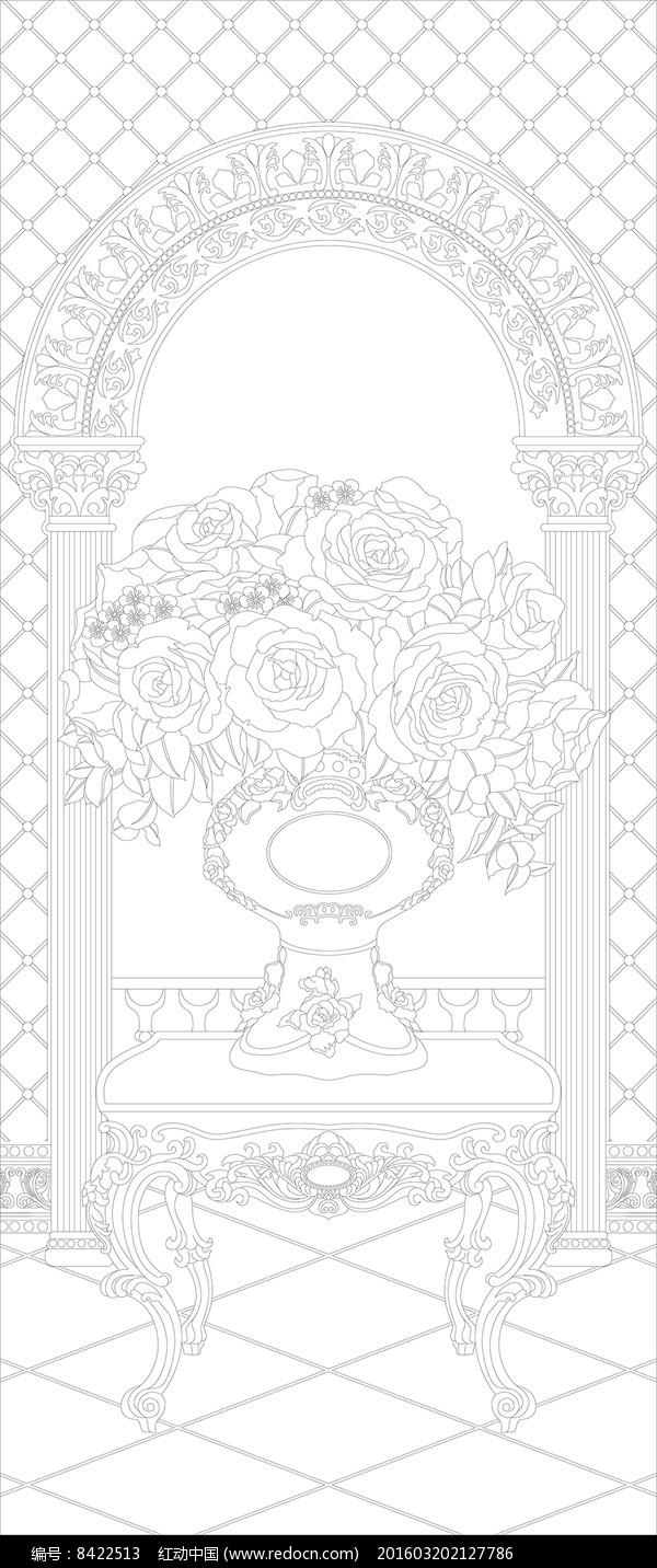 花瓶欧式花纹玄关图片