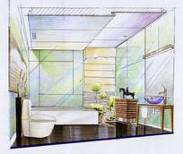 家庭浴室手绘效果图
