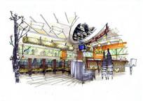 咖啡馆室内设计手绘效果图