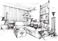 客厅效果图手绘线稿
