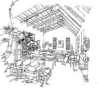 起居室效果图手绘线稿