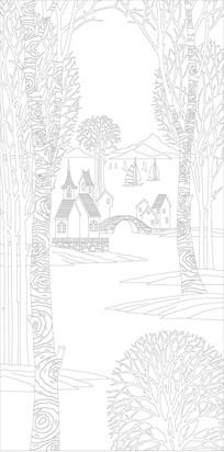 树林风景玄关雕刻图案