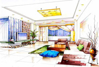 现代风格客厅手绘效果图