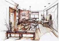 新中式风格客厅室内手绘效果图