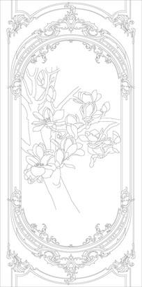 玉兰花纹雕刻图案
