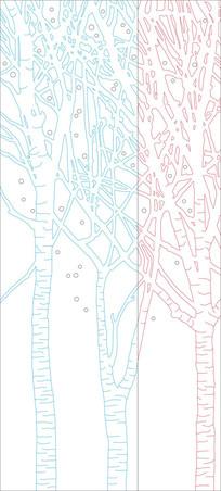 大树抽象现代玄关雕刻图案