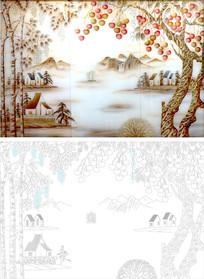 风景画背景墙雕刻图案