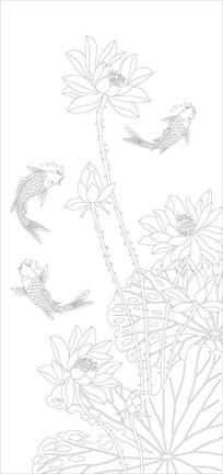 荷花鱼玄关雕刻图案