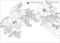 花开富贵牡丹背景墙雕刻图案