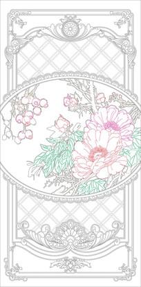 花开富贵欧式花纹玄关雕刻图案