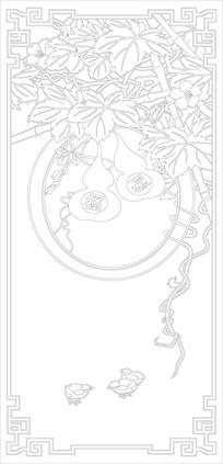 花鸟中式玄关雕刻图案