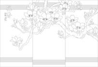 花香富贵背景墙雕刻图案
