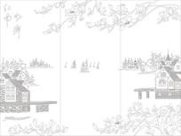 江南水乡背景墙雕刻图案