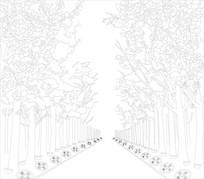 林荫树林背景墙雕刻图案
