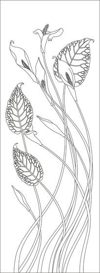 马蹄莲抽象玄关雕刻图案