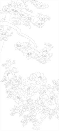 牡丹花玄关雕刻图案
