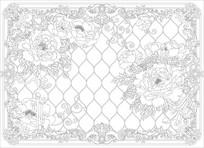牡丹欧式花纹背景墙