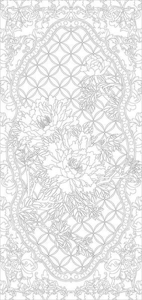牡丹欧式花纹玄关雕刻图案