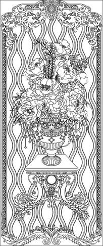欧式花瓶花纹玄关雕刻图案