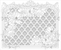 欧式花纹背景墙雕刻图案