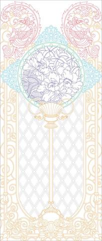 欧式花纹玄关雕刻图案