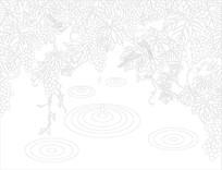 葡萄花鸟背景墙雕刻图案
