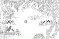 山水风景背景墙雕刻图案