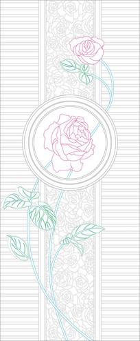 鲜花花纹玄关雕刻图案