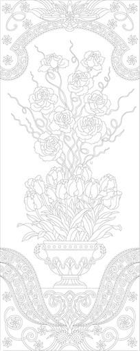 鲜花欧式花瓶玄关雕刻图案