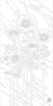 鲜花玄关雕刻图案